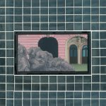 Made of Stone - 1997, oil on linen center panel with mirror tiles, 10 x 13 inches