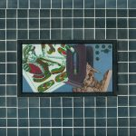 Overhead - 1998, oil on linen center panel with mirror tiles, 10 x 13 inches
