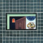 Space Out - 1998, oil on linen center panel with mirror tiles, 10 x 13 inches