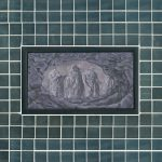 Cave Carving - 1998, oil on linen center panel with mirror tiles, 10 x 13 inches