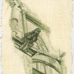 Munich Intervention VI – 2011, oil on paper, 3.75 x 5.5 inches